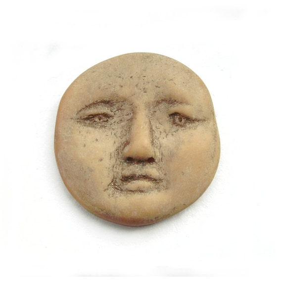 Faux Bone Beauty Polymer Clay Art Doll Face Cab Goddess Beige Ivory Oatmeal Tan Cabochon 2606