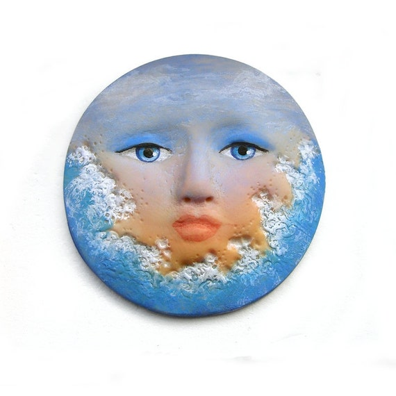 Ocean Sunset 40mm Art Doll Face Cab Surf Waves Sky Sea Beach 2607 polymer clay cabochon goddess