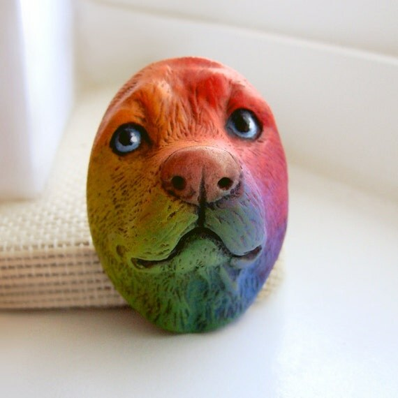 Rainbow Dog Art Doll Face Cab Oval Puppy Animal Pet Canine Bright Colorful Polymer Clay Cabochon roygbiv Blue Purple Red Orange Yellow 2642