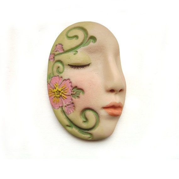 Pink Flowers Dream Art Doll Face Cab Green Vines Goddess Garden Floral Profile Polymer Clay Cabochon 2633