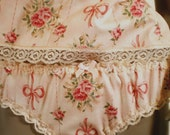 Shabby Chic Panties Peach Rose And Ribbon Print Vintage Style Romantic Cotton Knickers MADE TO ORDER