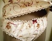 Elegant Cotton Knickers Neutral Tan Maroon Pink Flowers French Script Print Old Paris Panties
