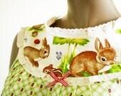 Babydoll Pajama Top Woodland Rabbit Birds Spring Green Gingham Eyelet Lace 1950s Retro Cotton Sleepwear