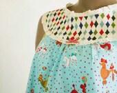 Poodle Print Nightgown Bright Aqua Cotton With Harlequin Yoke, Eyelet Lace Trim Handmade Retro Nightdress