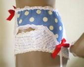 Polka Dot Garter Belt Cute Blue And White Cotton Handmade Retro Style Red Satin Bows MADE TO ORDER
