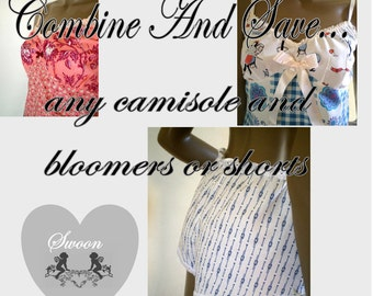 Combine Camisole Bloomers Or Shorts Set Combine And Save Handmade Lingerie Gift Set Special Offer