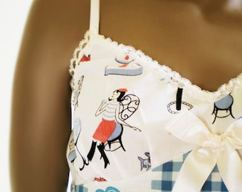 Vintage Style Camisole Blue Gingham And Cafe Print Poodles, Flowers, Beat Girl Cute Handemade  Underwear Or Sleepwear 34 Bust