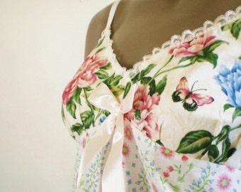 Pretty Camiknickers Pastel Pink Blue Flowers Butterflies Cotton Romper Bridal Lingerie Or Sleepwear