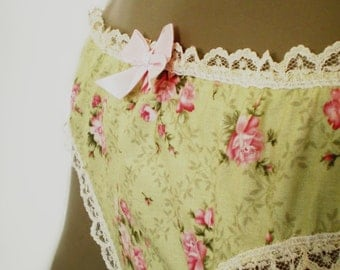 Chintz Panties Old Fashioned Rose Print Knickers Handmade Cotton Soft Green Pink Roses MADE TO ORDER
