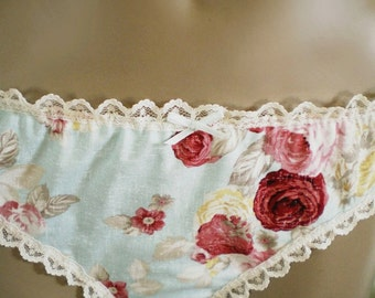 Shabby Rose Panties Handmade Cotton Duck Egg And Red Rose Knickers Made To Order