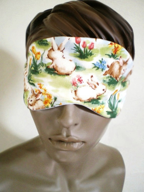 Spring Bunny Sleepmask With Sky Print Backing, Padded All Cotton Handmade Eye Mask