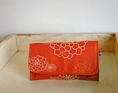 Coral Orange Canvas Foldover Wallet-Rosetta Print