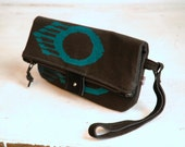 Sale Last One Style Black Foldover clutch with Ojo print