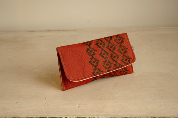 Sale Dark Red Foldover Wallet-Pacifica Print