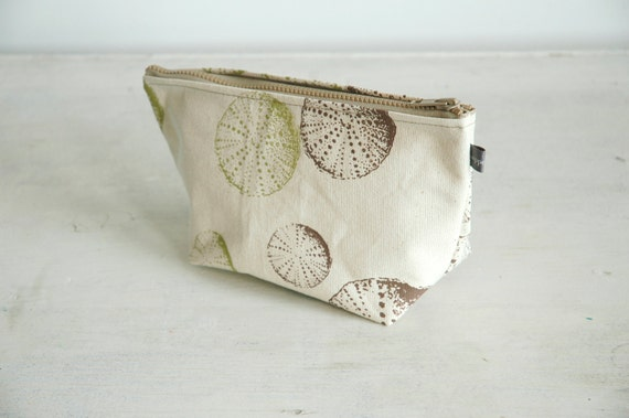 Natural canvas cosmetic bag with green & brown Urchin print-lined with vinyl