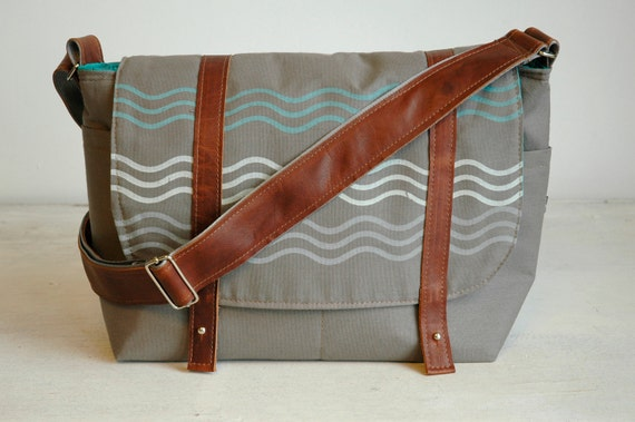 Big SALE Putty Grey Messenger with Brown Leather
