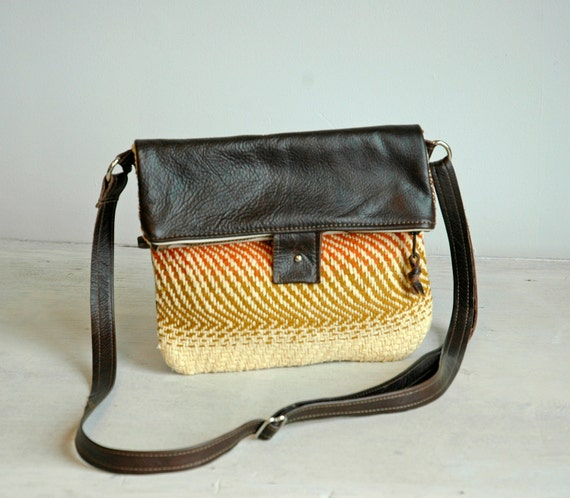 Vintage Woven Wool Claire bag with dark brown leather