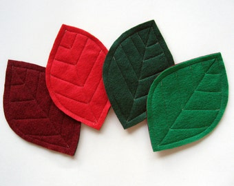 Felt Leaf Christmas Coasters in Red and Green (set of 4)
