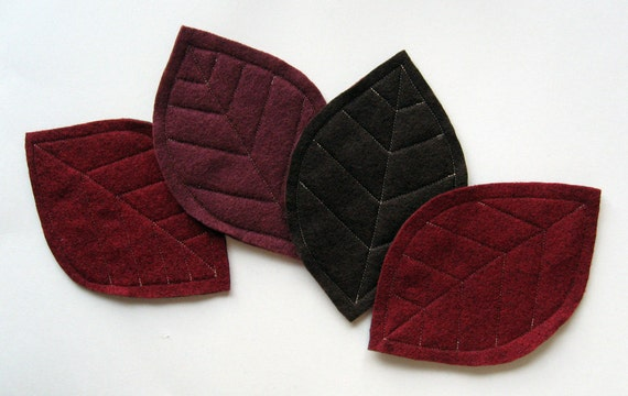 Felt Leaf Coasters in Burgundy and Brown (set of 4)