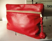 Leather Bank Clutch in True Red