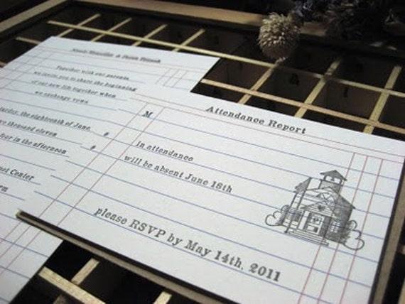School Lined Wedding Invitations - School Themed- Set of 100