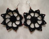 Black Cotton Crochet Beaded Lace Earring with Red Beads and Sterling Silver Ear Wires