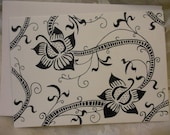 Hand Drawn Floral Black and Ivory Art Card--original artwork
