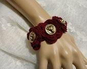 Burgundy  Crochet  Gothic Victorian Noir Mourning Steampunk Lion's Head Gold Vintage Button Bracelet