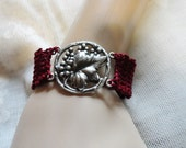 Gothic Burgundy Red Scarlet Crochet Victorian Steampunk Grape leaf Grape Vine Floral Bracelet