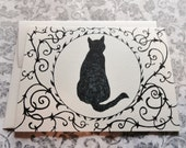Hand Drawn Black Ivory Floral Art Nouveau Art Deco Black Cat Gothic Victorian Noir Steampunk Mourning Wiccan Midnight original artwork
