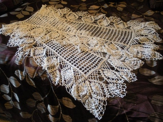 Vintage Crochet Lace 6 Foot long Fine White Lace Tablecloth or Table runner in Filet and Pineapple Victorian Edwardian