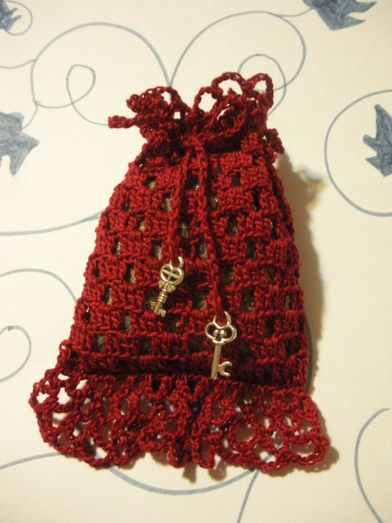 Cardinal Red Crochet Sachet with real Lavender filling and Key decoration