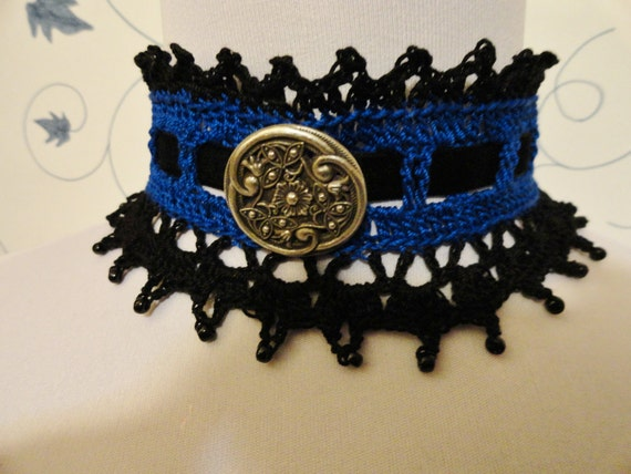 Royal Blue and Black Gothic  Steampunk Victorian Lace Crochet Beaded Choker Necklace