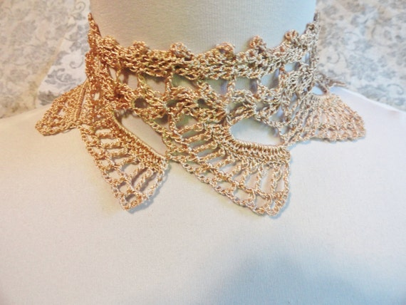 Champagne Cream Crochet Choker Necklace Steampunk Victorian Edwardian Wedding