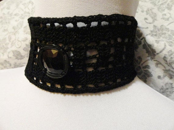 Black Gothic Crochet Choker Mourning Steampunk Victorian Noir Wiccan
