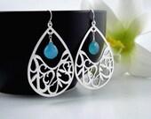 Modern Teardrop STERLING Silver Earrings, PERSONALIZED, Customize Birthstone earrings, Birthday, Wedding, Bridesmaid jewelry Earrings