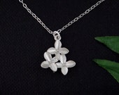 Cherry Bouquet Flowers on STERLING Silver Necklace