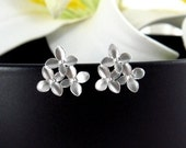 Silver Cherry Flower Earrings Sterling Silver Post, Aniversary Birthday gift Bridesmaid gifts