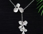 Dainty Lariat Trio Orchid Flowers Necklace, Bridesmaids Gifts, Girlfriend Gifts