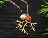 Tree Necklace, Birthstone and Pearl Jewelry, June Birthstone GOLD Filled Necklace, Bridesmaids Gift, Family Necklace, Mothers jewelry