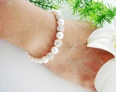 Wedding Jewelry Bracelet -Chloe, Olivia- Rhinestone Diamond Crystal Pearl strand STERLING silver Adjustable Bracelet, Bridesmaid gifts