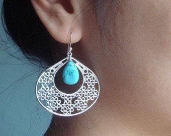 Modern Turquoise Silver Earrings, Teardrop December Birthstone Earrings, Bridesmaid Earrings, Beach Wedding Jewelry, Gift for GirlFriend