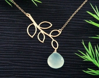 Personalized Birthstone Necklace, GOLD Branch Leaf Jewelry, Wedding Necklace, Simple Gemstone Mother's Necklace, Bridesmaid Gifts