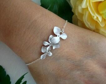 Orchid Bracelet - ADJUSTABLE Gold or Silver Bracelet - Wedding Jewelry Bridesmaids gift - Flower Girl Orchid Jewelry, Bridal Bracelet