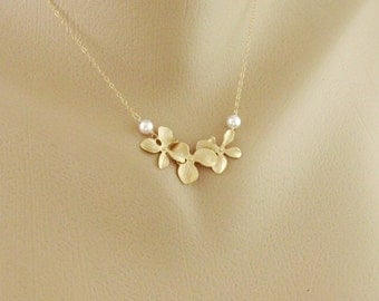 Pearl and Orchid Gold Fill Necklace - Dainty necklace, Birthday, flower girl, wedding jewelry, Bridesmaid gifts, simple everyday