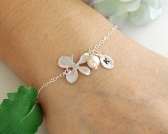Orchid and Monogram Leaf Charm Silver Bracelet - Silver Gold Pearl, Initial Bracelet - Flower Girl, Bridesmaid Gifts