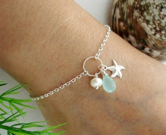 Starfish Bracelet, White Pearl ADJUSTABLE STERLING Silver Bracelet, Customize bracelet, Mother's Jewelry, Wedding jewelry, Bridesmaid gifts