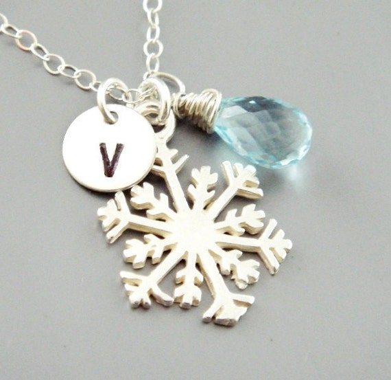 Snowflake Necklace, Birthstone Initial Charm Necklace, Sterling Silver Snowflake Jewelry, Bridesmaid Gifts, Winter Wedding Jewelry