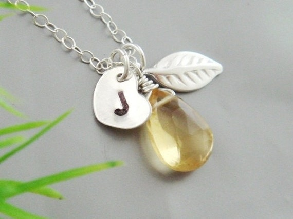 Customize Heart Initial Birthstone necklace, Citrine, Leaf charm, Monogram Necklace Silver, Bridesmaid Gifts, Mother's Jewelry