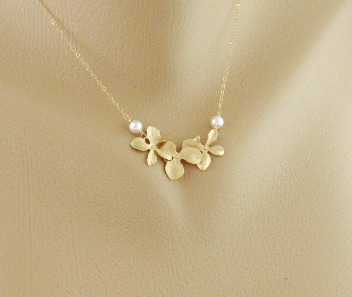 18th Birthday Cz T Bar Sterling Silver Heart Bracelet Can: Pearl And Orchid Gold Fill Necklace Dainty Necklace